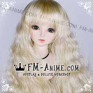 Long Mermaid Curly Hairstyle Light Gold BJD Dolls Wig