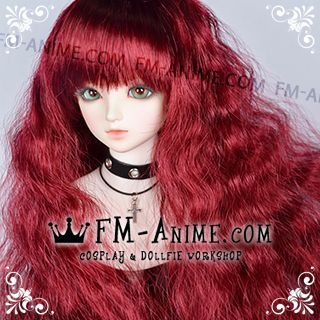 Long Mermaid Curly Hairstyle Wine Red BJD Dolls Wig