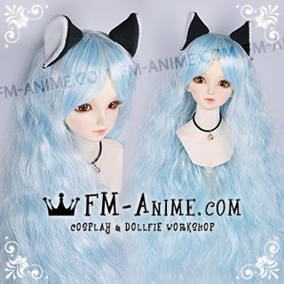 Long Mermaid Curly Hairstyle Light Alice Blue BJD Dolls Wig