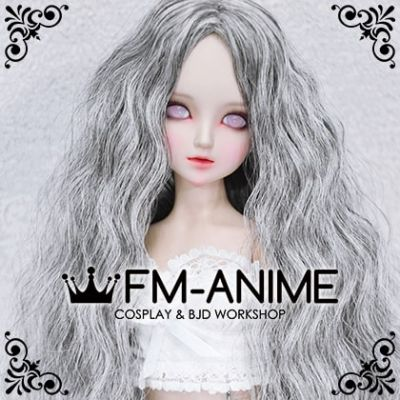 Medium Length Mermaid Curly Middle Part Hairstyle Silver Gray BJD Dolls Wig