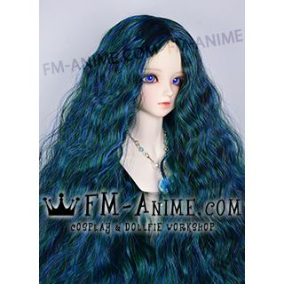 Medium Length Mermaid Curly Middle Part Hairstyle Sea Green BJD Dolls Wig