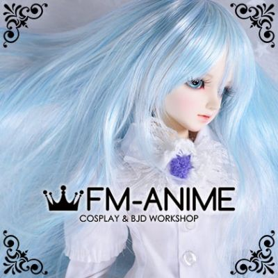 Long Naturally Curly Light Alice Blue BJD Dolls Wig