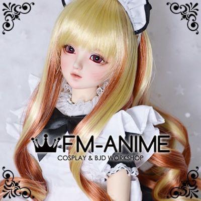 Medium Length Wavy Prince Gold & Orange Brown BJD Dolls Wig