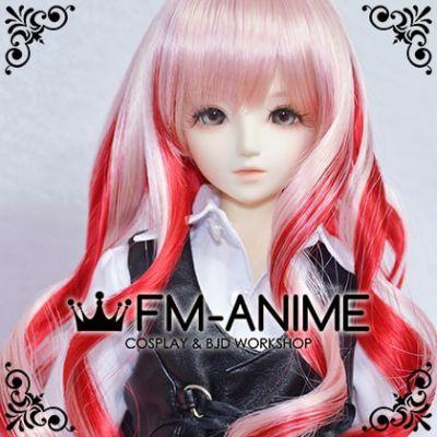 Medium Length Wavy Golden Pink & Red BJD Dolls Wig