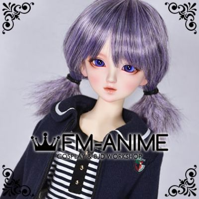 Short Twintails Japanese School Girls Cute Hairstyle Mixed Silver Purple BJD Dolls Wig