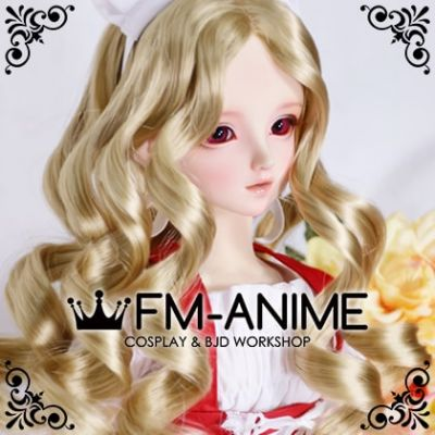 Medium Length Wavy Middle Part Hairstyle Sandy Brown BJD Dolls Wig
