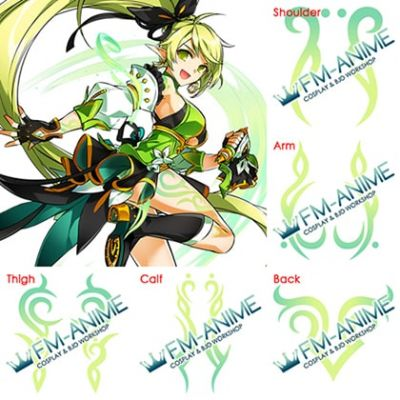 Elsword Rena Erindel Anemos Full Cosplay Tattoo Stickers