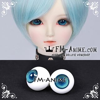 16mm Aqua Blue Yellow Stripe & Indigo Blue Pupil BJD Dolls Glass Eyes Eyeballs Accessories