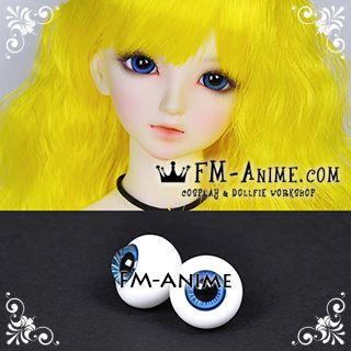16mm Cobalt Blue White Stripe & Black Pupil BJD Dolls Glass Eyes Eyeballs Accessories