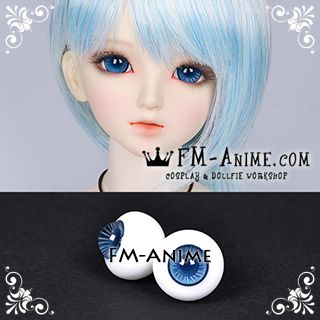 16mm Steel Blue Whtie Stripe & Indigo Blue Pupil BJD Dolls Glass Eyes Eyeballs Accessories