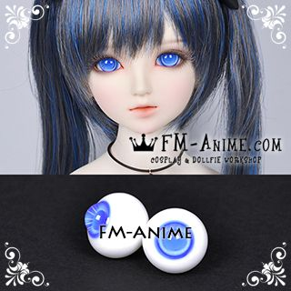16mm Light Royal Blue Spiral & Blue Pupil BJD Dolls Glass Eyes Eyeballs Accessories