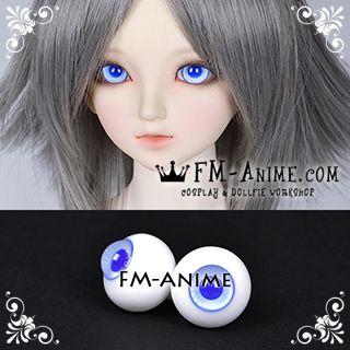 16mm Light Royal Blue Stripe & Dark Blue Pupil BJD Dolls Glass Eyes Eyeballs Accessories