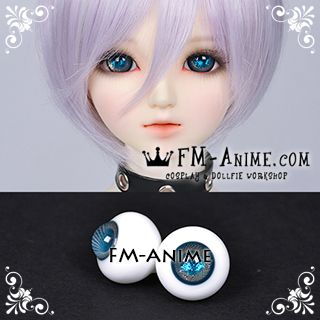 16mm Space Blue Gold Spiral & Shiny Pupil BJD Dolls Glass Eyes Eyeballs Accessories