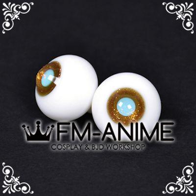 16mm Gold Shiny & Light Blue Pupil BJD Dolls Glass Eyes Eyeballs Accessories