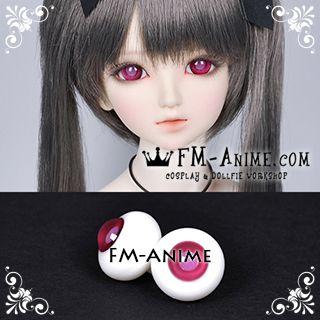 16mm Wine Red & Lavender Pink Pupil BJD Dolls Glass Eyes Eyeballs Accessories