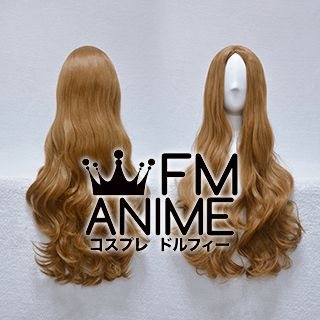 Bang Central Parting Style 80cm Medium Length Wavy Golden Brown Cosplay Wig