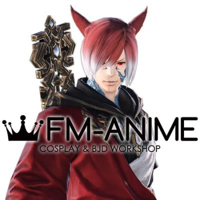 Final Fantasy XIV G'raha Tia Crystal Exarch Cosplay Wig with Ears