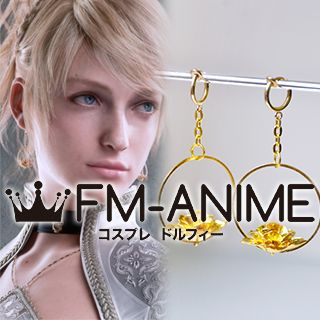 Kingsglaive: Final Fantasy XV Lunafreya Nox Fleuret Gold Metal Flower Earrings Cosplay Accessories