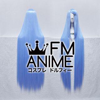 100cm Medium Length Straight Mixed Sky Blue Cosplay Wig