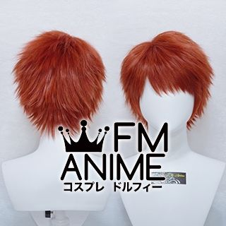 Short Spike Style Red Mixed Orange Cosplay Wig