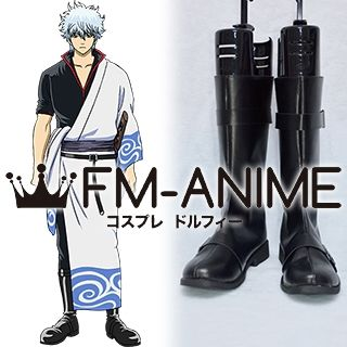 Gintama Gintoki Sakata Black Cosplay Shoes Boots