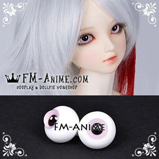 16mm Light Mist Pink & Black Pupil BJD Dolls Glass Eyes Eyeballs Accessories (Slight Flaws)
