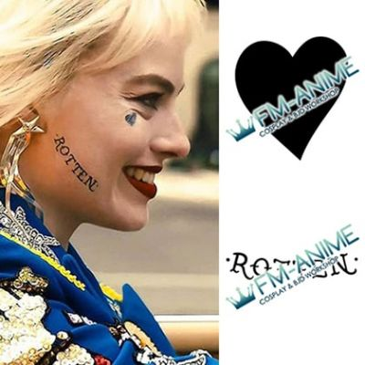 Harley Quinn: Birds of Prey DC Films Face Heart Rotten Cosplay Tattoo Stickers