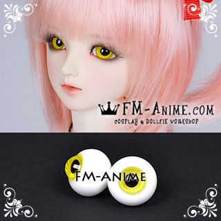 16mm Lemon Yellow Spiral & Black Pupil BJD Dolls Glass Eyes Eyeballs Accessories