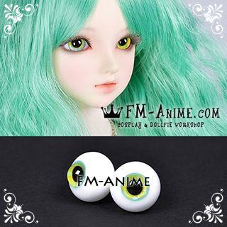 16mm Ice Blue Yellow Flower & Black Pupil BJD Dolls Glass Eyes Eyeballs Accessories