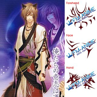 Hiiro no Kakera Ryou Kutani Cosplay Tattoo Stickers