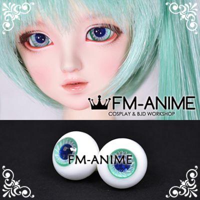 16mm Seafoam Green White Spiral & Dark Blue Shiny Pupil BJD Dolls Glass Eyes Eyeballs Accessories