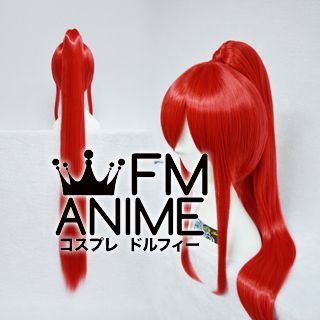Long Length Clips on Straight Single Bright Red Cosplay Wig