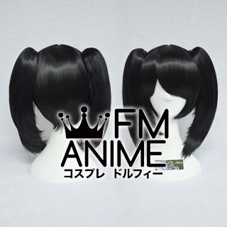 Short Length Clips on Straight Black Cosplay Wig