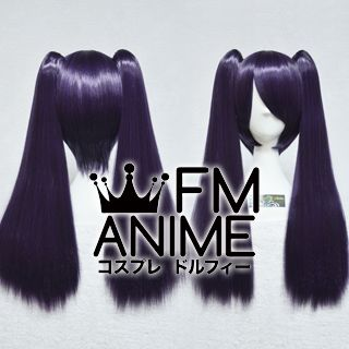 Medium Length Clips on Straight Purple Mixed Black Cosplay Wig