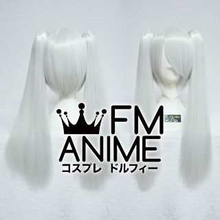 Medium Length Clips on Straight Silver White Cosplay Wig