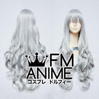 Medium Length Wavy Mixed Gray Cosplay Wig