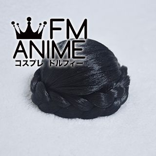Clip-On Braided Bun Hair Extension Black Cosplay Wig Accessory