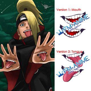 Naruto Deidara Mouth Cosplay Tattoo Stickers (A Pair)