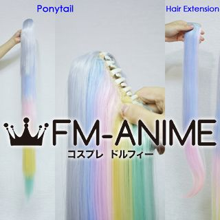 Straight Clips on Ponytail / Hair Extension Rainbow Colorful Lolita Shiro Cosplay Wig Free Shipping