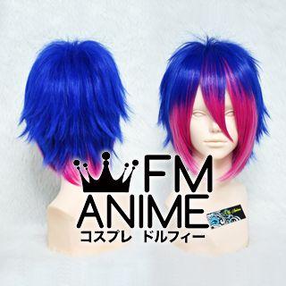 Short Spike Style Dark Blue & Rosy Pink Cosplay Wig