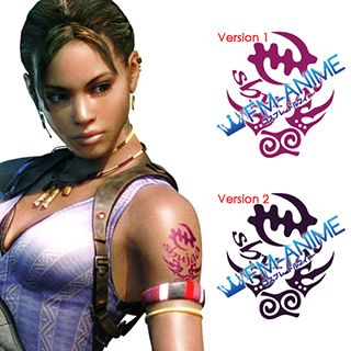 Resident Evil 5 Sheva Alomar Cosplay Tattoo Stickers