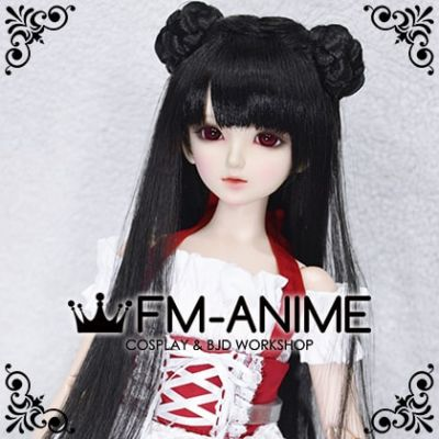 Long Straight with Braided Twin Buns Black BJD Dolls Wig