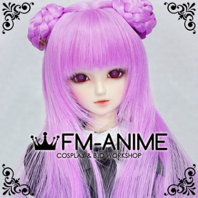 Long Straight with Braided Twin Buns Magenta Pink BJD Dolls Wig
