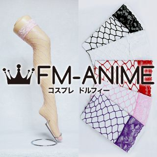 Large Fishnet Rhombus Lace Over Knee Thigh High Socks Fashion Cosplay Anime Ladies Women
