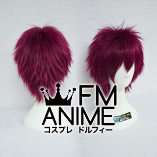 Short Spike Style Rosy Wine Red Cosplay Wig