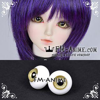 16mm Sand Yellow Shiny & Black Pupil BJD Dolls Glass Eyes Eyeballs Accessories
