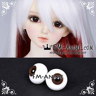 14mm / 16mm Brown & Black Pupil BJD Dolls Glass Eyes Eyeballs Accessories