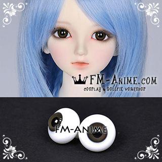 14mm Dark Gray & Black Pupil BJD Dolls Glass Eyes Eyeballs Accessories