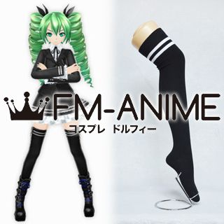 Vocaloid Miku Secret Police Black & White Over Knee Thigh High Striped Socks Cosplay