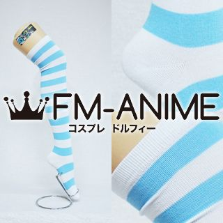 Light Blue & White Over Knee Thigh High Striped Socks Fashion Cosplay Anime Lolita Punk
